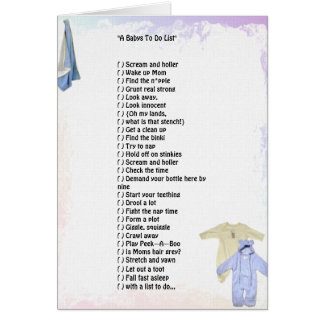"""A Babys To Do List""  Greeting Card"