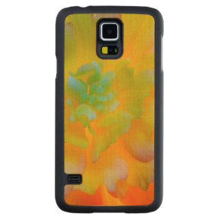 A back-lit, glowing begonia blossom carved maple galaxy s5 slim case