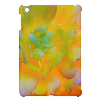 A back-lit, glowing begonia blossom iPad mini covers