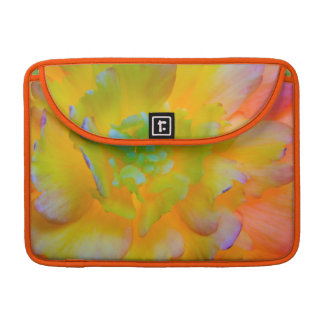 A back-lit, glowing begonia blossom MacBook pro sleeve
