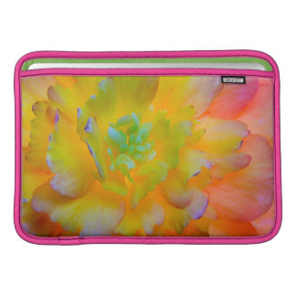 A back-lit, glowing begonia blossom sleeve for MacBook air