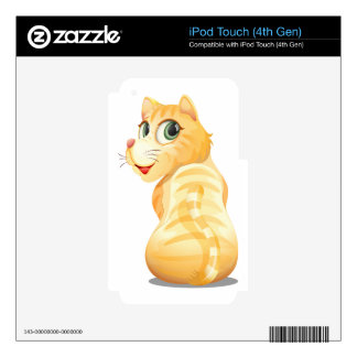 A backview of an orange cat iPod touch 4G decal