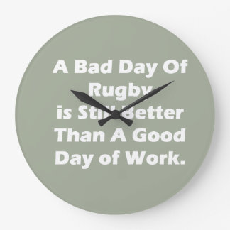 A Bad Day Of Rugby Large Clock
