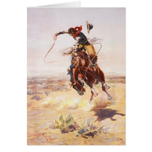A Bad Hoss by Charles Marion Russell in 1904 Greeting Card