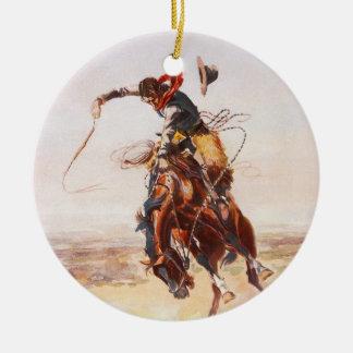 A Bad Hoss by Charles Marion Russell in 1904 Ceramic Ornament