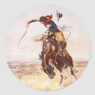 A Bad Hoss by Charles Marion Russell in 1904 Classic Round Sticker