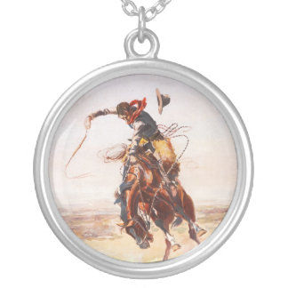 A Bad Hoss by Charles Marion Russell in 1904 Round Pendant Necklace
