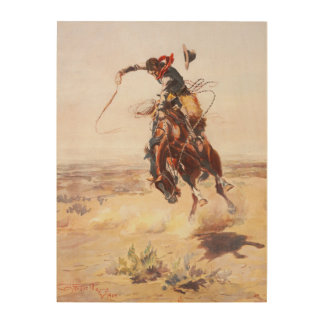 A Bad Hoss Charles Russell Fine Art Wood Canvas