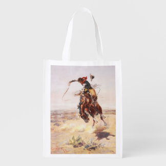 A Bad Hoss Charles Russell Fine Art Grocery Bags