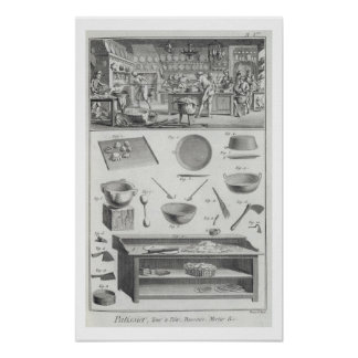 A baker's kitchen and equipment, from the 'Encyclo Poster