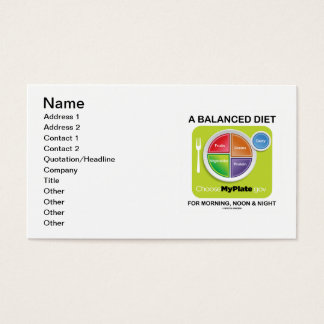 A Balanced Diet For Morning Noon And Night MyPlate Business Card