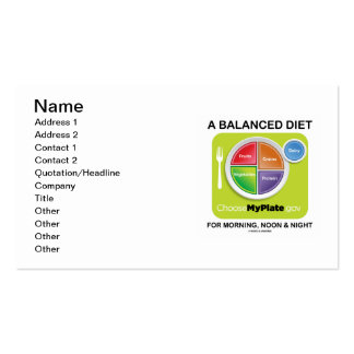 A Balanced Diet For Morning Noon And Night MyPlate Business Card Templates