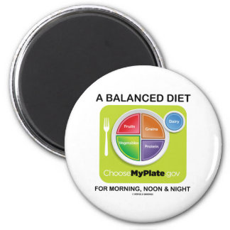 A Balanced Diet For Morning Noon And Night MyPlate Refrigerator Magnet
