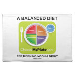 A Balanced Diet For Morning, Noon & Night MyPlate Cloth Placemat