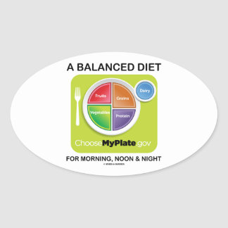 A Balanced Diet For Morning, Noon & Night MyPlate Oval Sticker