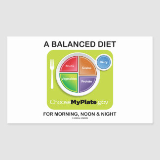 A Balanced Diet For Morning, Noon & Night MyPlate Rectangular Sticker