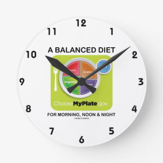 A Balanced Diet For Morning, Noon & Night MyPlate Round Clock