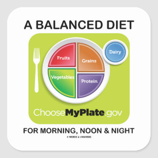 A Balanced Diet For Morning Noon Amp Night MyPlate Square Sticker