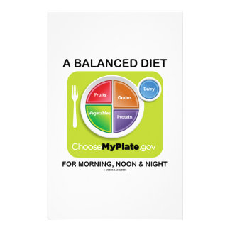 A Balanced Diet For Morning, Noon & Night MyPlate Stationery