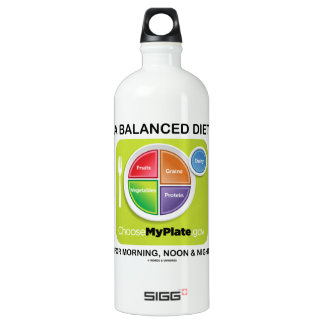 A Balanced Diet For Morning, Noon & Night MyPlate Water Bottle
