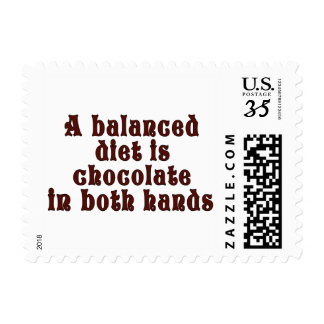 A balanced diet is chocolate in both hands postage