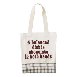 A balanced diet is chocolate in both hands zazzle HEART tote bag