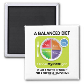 A Balanced Diet Is Not Matter Of Weight (MyPlate) 2 Inch Square Magnet
