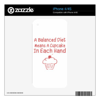 A Balanced Diet Means A Cupcake In Each Hand Skin For iPhone 4S