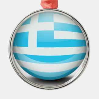 A ball with the flag of Greece Metal Ornament