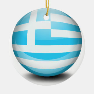 A ball with the flag of Greece Double-Sided Ceramic Round Christmas Ornament