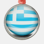A ball with the flag of Greece Round Metal Christmas Ornament
