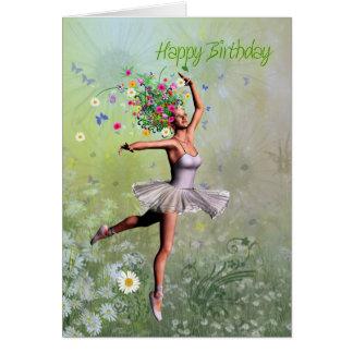 A ballerina flower fairy birthday card