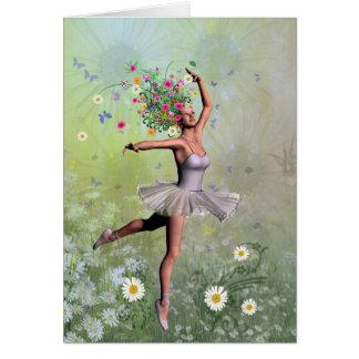 A ballerina flower fairy card