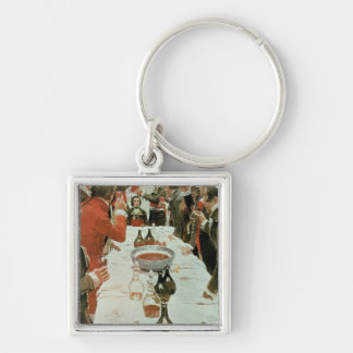 A Banquet to Genet illustration from Washington Silver-Colored Square Keychain