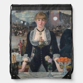 A Bar at the Folies-Bergère by Édouard Manet Drawstring Bag