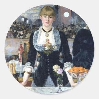 A Bar At The Folies Bergere Classic Round Sticker