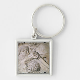 A Barbarian fighting a Roman legionary Silver-Colored Square Keychain