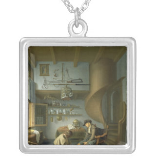 A Barber surgeon tending a peasant's foot Silver Plated Necklace