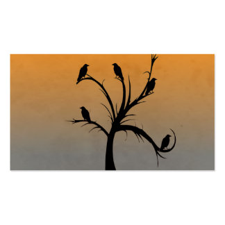 A Bare Tree with Silhouettes of Crows Business Card