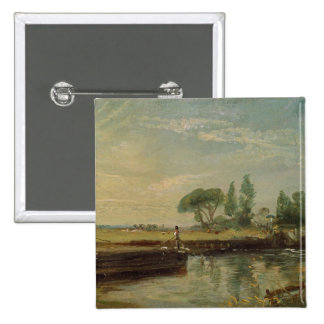 A Barge below Flatford Lock, c.1810 (oil on canvas Button