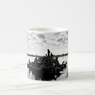 A barge, powered by outboard motors_War Image Coffee Mug