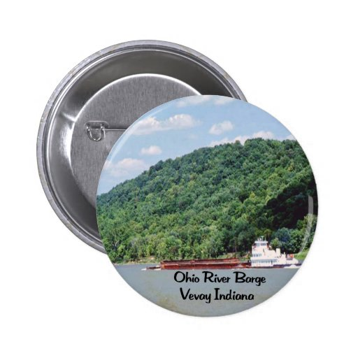 A barge steams up the Ohio River Pinback Buttons