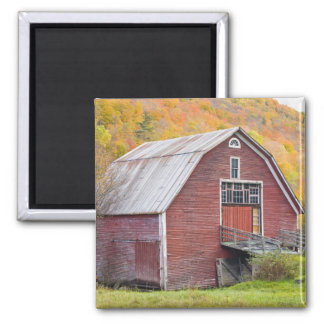 A barn in Vermont's Green Mountains. Hancock, 2 2 Inch Square Magnet
