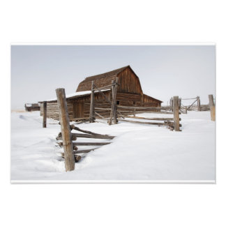 A barn on Mormon Row in the Grand Tetons in snow Photographic Print