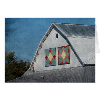 A Barn With Two Quilts Card