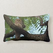 A Barred Owl on a Branch in the Woods Lumbar Pillow