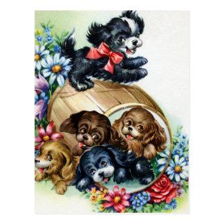A Barrel of Puppies Postcard