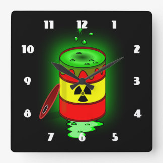 A Barrel of Toxic Waste. Square Wall Clock