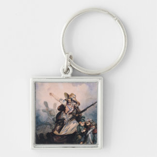 A Barricade in 1830, 1834 Silver-Colored Square Keychain