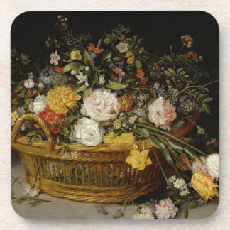 A Basket of Flowers - Jan Brueghel the Younger Beverage Coaster